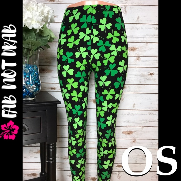 fab542adc1a2a6 Fab Not Drab Pants   Os St Patricks Day Shamrock One Size Leggings ...